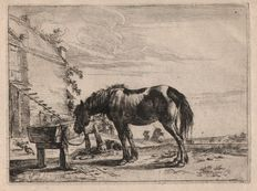 Dirk Stoop (1610-1686) - A horse bound to a trough  - 1651