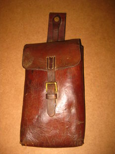 WW1 military Portugal Portuguese cep 1916 cavalry map document leather medium bag pouch saddlebag