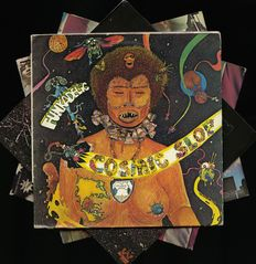 Lot of four soul-funk album by Funkadelic and Sly and the Family Stone incl. 'Cosmic slop', 'Maggot brain', 'Stand'  and 'There's a riot goin' on'