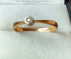 22kt Rose Gold Victorian Diamond Ring - Dated 1884
