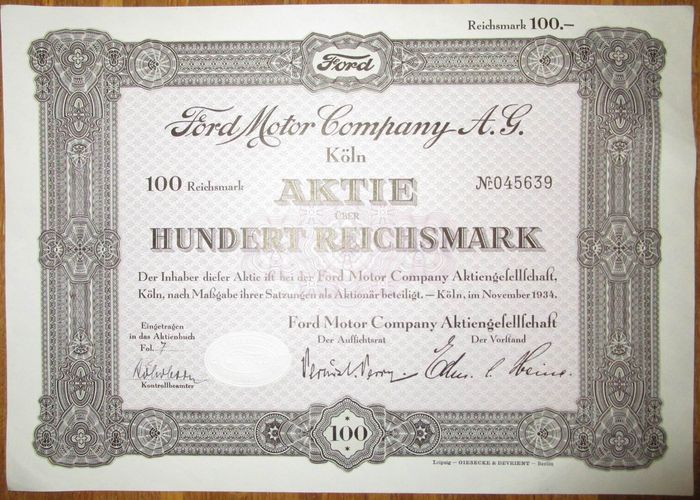Germany ford motor company ag aktie share 100 for Ford motor company stock