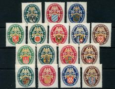German Empire 1925-1929 emergency country coat of arms, all lines complete  Michel 375-77, 398-401, 425-29, 430-34)