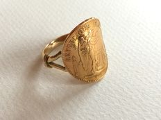 20 Franc 1878 gold coin 'génie' - mounted on a ring - End of 20th century - Condition: EF-VF - NO RESERVE.