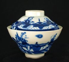 Blue/white porcelain cup including lid - China - 1821-1850 (Dao Guang period)