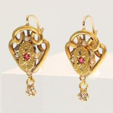 Victorian earrings with strass stones and pearls - anno 1880