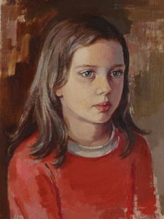 B. Verdonck (20th century) - portrait of a girl with blue eyes