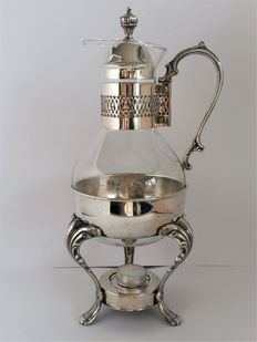 England-glass coffee machine on silver-plated chafing dish