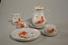 Meissen - Solitaire coffee set, red dragon