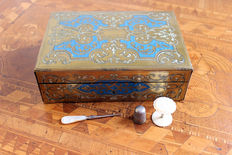 A Napoleon III brass, enamel and mother-of-pearl sewing box - France - second half 19th century
