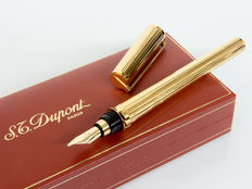 "DUPONT Montparnasse ""Godron"" guillochè Gold-plated Fountain Pen"
