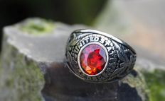 UNITED STATES AIRFORCE ring with faceted red inlay.