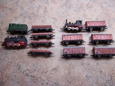Arnold/Trix N - 2 x Steam locomotives with 10 wagons of the DB