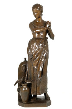 Alfred Boucher (1850-1934) - large beautifully executed bronze sculpture of a lady at a fountain - France - ca. 1900