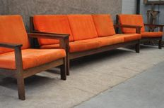 Designer unknown - Rosewood bench with 2 armchairs