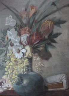 Unknown (20th century) - flowers in stone vase.