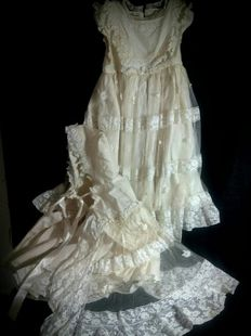 Christening gown and cape set - Hand made, Spain, early 20th century