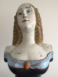 19th century style carved wood and painted figurehead of a maiden