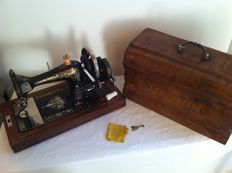 Luxurious Gloria sewing machine In deluxe Lewenstein box with accessories and tools from approximately 1900