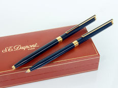 DUPONT Classique Blue Lacquer Ballpoint Pen & Mechanical Pencil Set | RARE SET