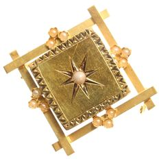 Victorian Antique square-shaped gold brooch finished with pearls, ca.1880