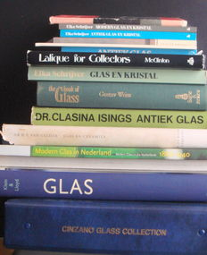 Books - Glass Library with 14 books (incl. Lalique, Cinzano, Eliens)