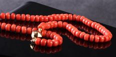 """Red coral necklace with gold barrel clasp - antique folk clothing red coral """"cheeses"""", diameter 6.75 mm"""