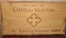 2000 Reserve du Chateau Mouton – 12 bottles of 750ml in OWC