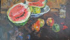Yuri Aleksandrovich Savinov (attrib.) - Still life of fruit on table