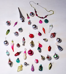 Collection of 43 miniature glass Christmas decorations