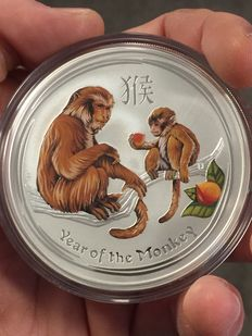 Australia – A$8, 2016, 'Lunar year of the monkey' – 5 oz silver – coloured edition