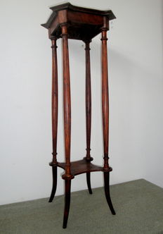 Mahogany Wood Plant Stand with Open Shelf - England - ca. 1920