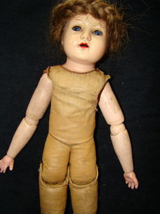 Antique Doll with leather bellows, size: 40 cm, marked with brand,Schildkröt.