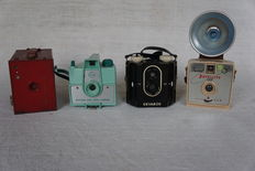 Four box cameras of different brands and years