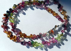 Parure; necklace with bracelet made of faceted tourmaline