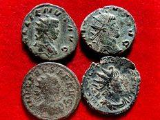 Roman Empire - Four bronze antonianus lot minted in the III century A.D. Gallienus (PAX AVG and DIANAE CONS AVG, stag), Victorinus (SALVS AVG) and Carus (IOVI VICTORI). (4)