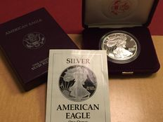 United States - $1 American silver Eagle 1 oz - 1989 with original box + S + PP + COA
