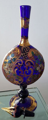 Blue glass vase with painted and gold decorations - 19th century - Venice