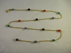 18 kt gold necklace with tourmalines - 1980s