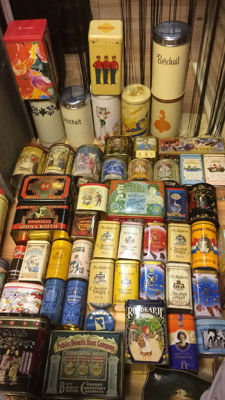 Large collection (60) old tins