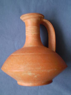 Ancient Roman red ware pottery jug vessel - 20 x 19 cm