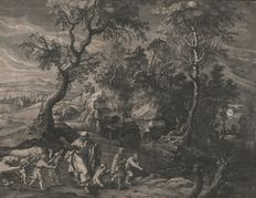 Peter Paul Rubens (1577 - 1640) - Landscape with Elisha - variant on one of the small landscapes  - published by Visscher - Ca.1645