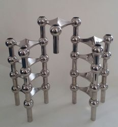 "Designer unknown - Lot of nine stackable ""spage age"" designer candlesticks"