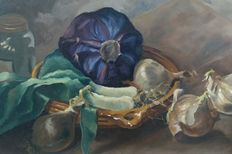 W Schoonhoven (20th century) - Winter still life with red cabbage and onions