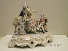 Achille Bloch/Paris-large center piece with three characters in porcelain