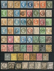 France 1849/1890 – Collection of stamps between Yvert no. 4 and 105.