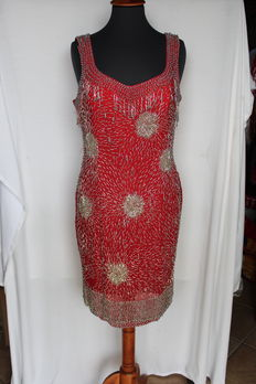 Charleston dress embroidered with glass beads, size L/50/IT/