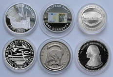 World - Lot assorted coins 1982/2006 (6 different) including 4x silver