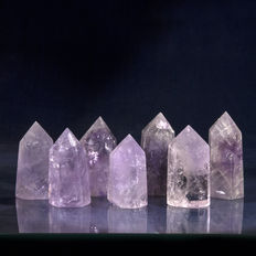 Lot with Amethyst points  6.5 t/m 4.5 cm - 700 gm (10)