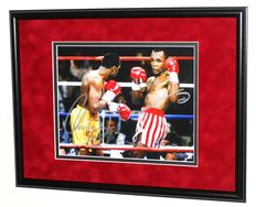 Sugar Ray Leonard AND Thomas 'Hitman' Hearns original double signed photo/poster - Premium Framed + Certificate of Authenticity