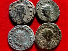 Roman Empire - Four bronze antonianus lot minted in the III century A.D. Gallienus (PAX AVG and APOLLINI CONS AVG, Centaur), Valerian I billon one (LIBERALITAS AVG) and Carus (VIRTVS AVGG). (4)